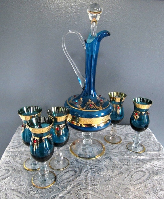 Vintage italian wine decanter and glasses set for Wine carafes and decanters