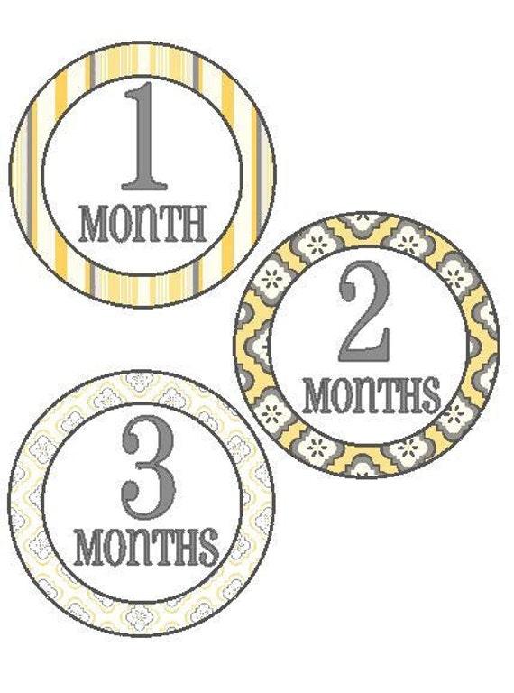 Birthday Month Stickers - Yellow & Grey