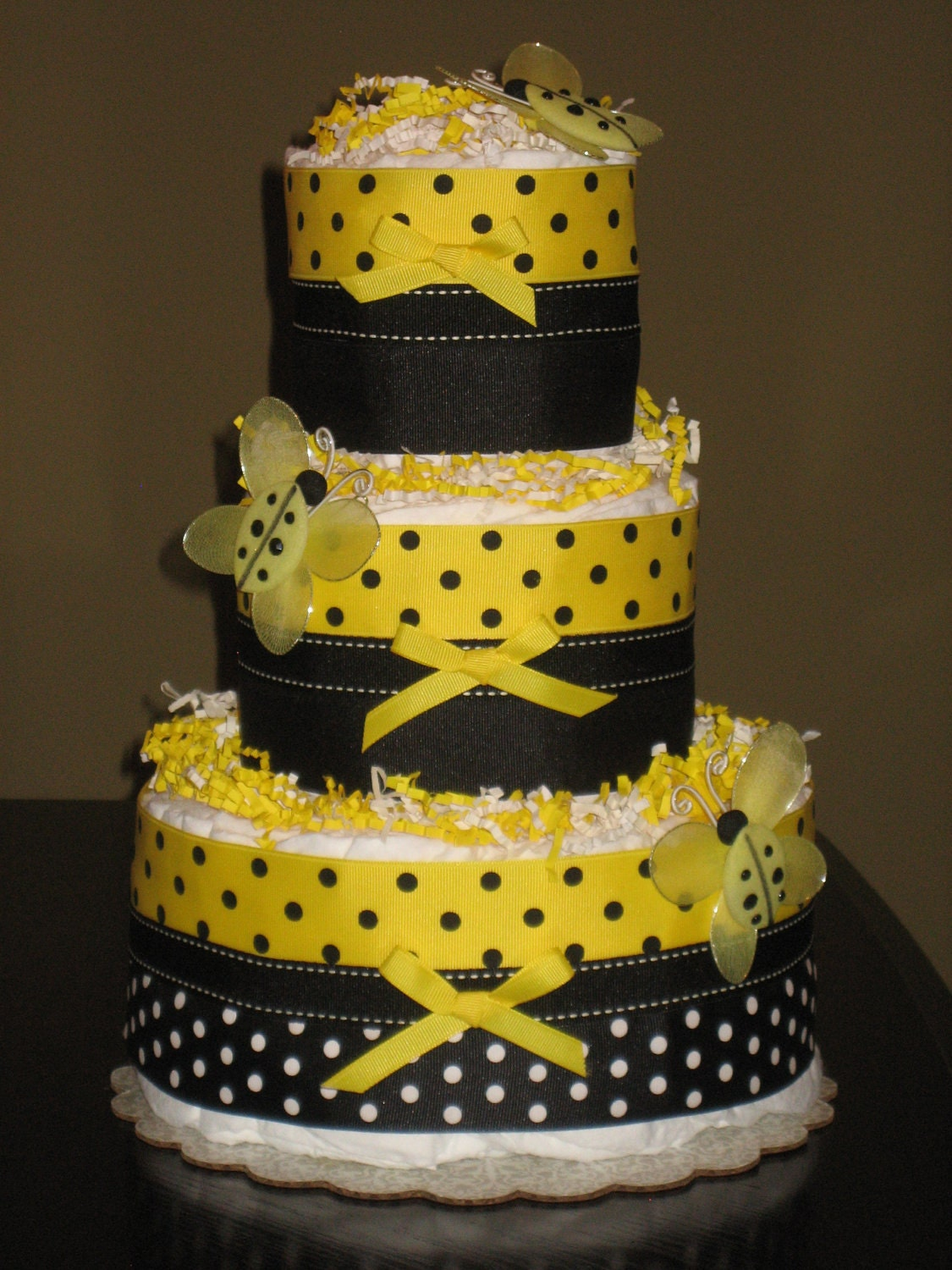 bumble bee diaper cake for baby shower by mrsheckeldiapercakes
