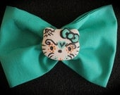 Turquoise Hello Kitty Sugar Skull Bow or Headband