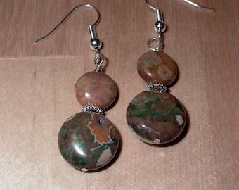 Rainforest Jasper Coin Earrings