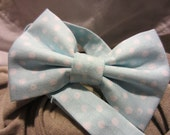 Light Blue and White Polka Dots -ON SALE- Boys Bow Tie - Free Shipping - Light Blue and White Polka Dotted Boys Bow Tie