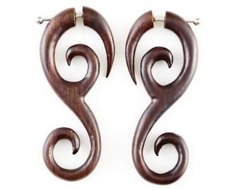 """Fake Gauge Earrings - Organic Wood Earrings Fake Piercing - Sono Wood Spiral Earrings """"Orchid Spirals"""" - NoHolesBarred Tribal Earrings"""