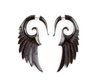 """Angel Wing Earrings - Fake Gauge Earrings - Wood Earrings Fake Piercing - Iron Wood """"Push Back"""" Angel Wing Earrings"""