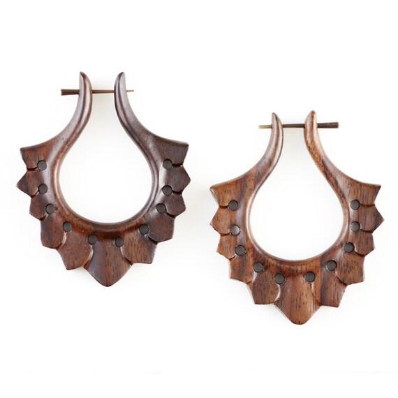 """Fake Gauge Earrings - Wood Tribal Earrings Fake Piercing  - Organic Sono Wood """"Apsara"""" Wood Earrings - SUPER SALE"""