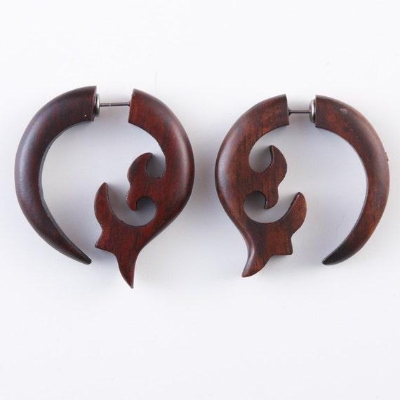 "Fake Gauge Earrings - Wood Tribal Earrings Fake Piercing  - Sono Wood ""Crescent Fleur"" Earrings"