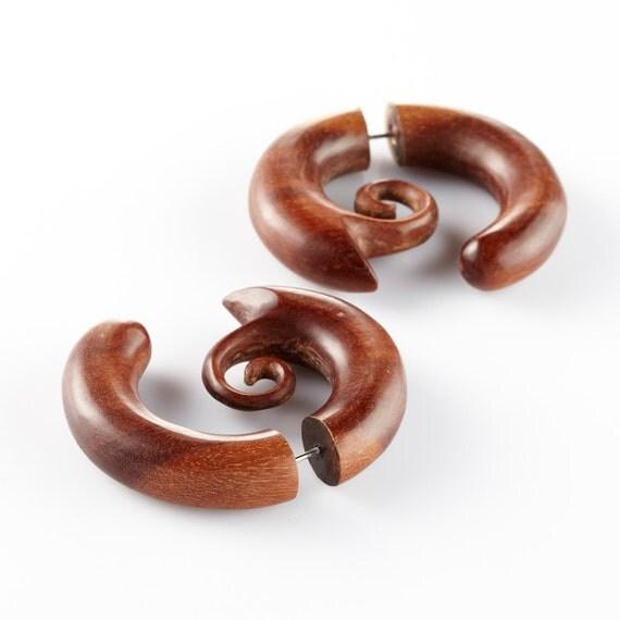 """Fake Gauge Earrings - Tribal Earrings Fake Piercing - Organic Sono Wood """"Jumbo Grubs"""" Earrings - SUPER SALE"""