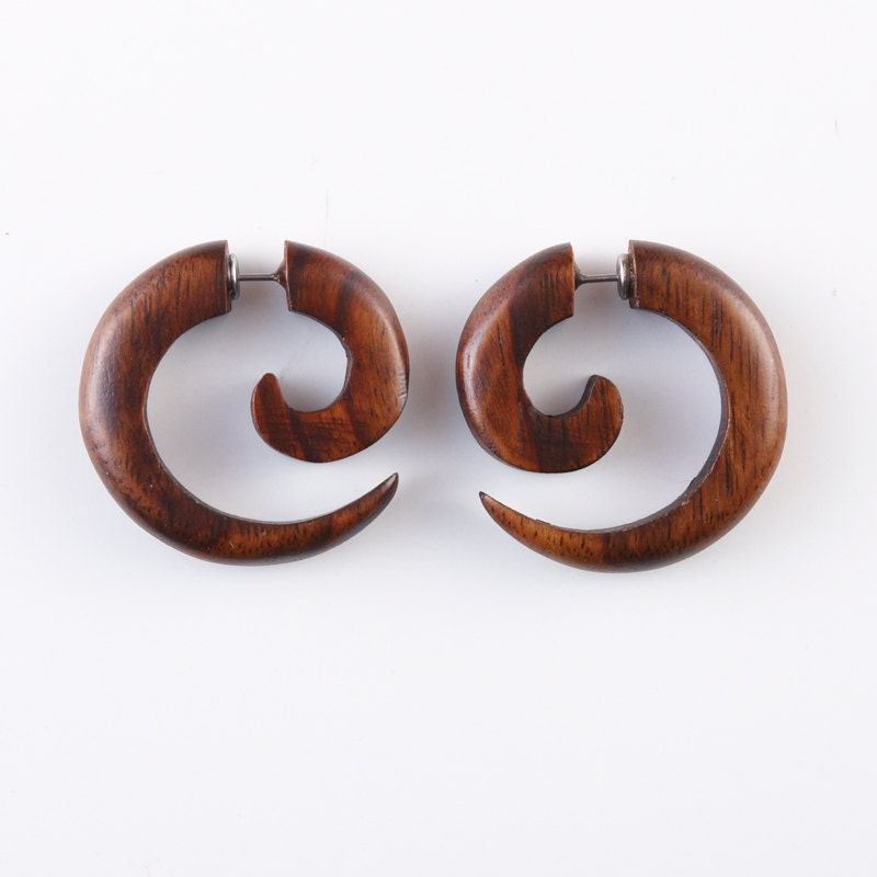 fake gauge earrings wood earrings fake plugs by noholesbarred