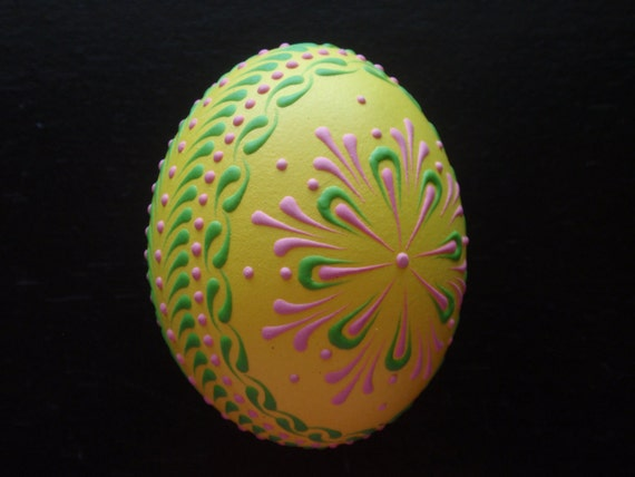 Hand Decorated Chicken Egg, Easter Egg Pysanka in Yellow