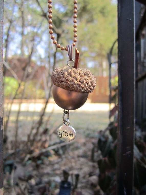 Circle of Life Acorn Cap Harvest and Bead Eco Friendly Pendant