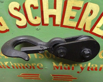 Industrial, Salvage, Vintage, Black Hook and Pulley, Upcycled, Paper Weight, Shelf Decor