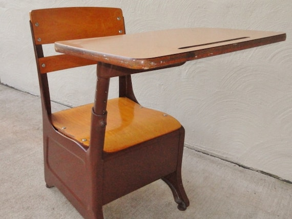 vintage childrens 39 chair and desk combination by rustbelttreasures