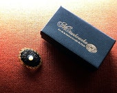 Hand embroidered vintage inspired Brooch, sea pearl, gold thread