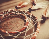 Dream Catcher - Annual Rings - With Natural Brown Feathers, Brown Frame, Brown and White Nett - Home Decor, Mobile