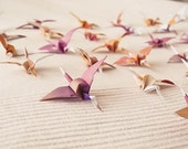 Origami Cranes - Hand Dyed - 30 Unique Hand Painted Birds - Home Decor, Mobile, Wedding Decoration