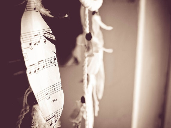 Dream Catcher - Lullaby - With Scores Decoupaged Pigeon Feathers and White Nett - Home Decor, Mobile