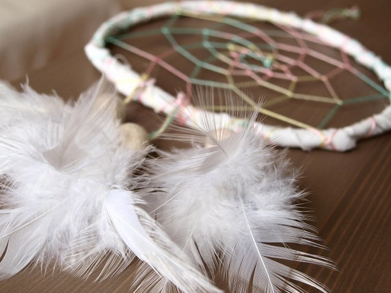Dream Catcher - White Rainbow - With Pure White Feathers, White Frame, Rainbow Colorful Nett - Home Decor, Mobile