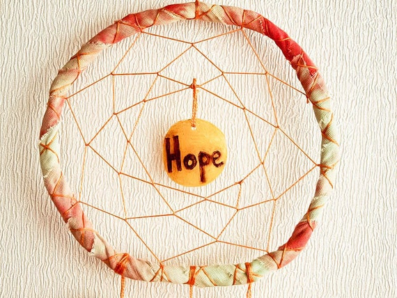 Dream Catcher - Hope - With Pure Yellow and Orange Feathers, Hand Dyed Frame, Yellow Nett - Home Decor, Mobile