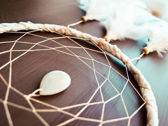 Dream Catcher - White Drop - With White Feathers, White Drop Gemstone , White Frame and Nett - Home Decor, Mobile