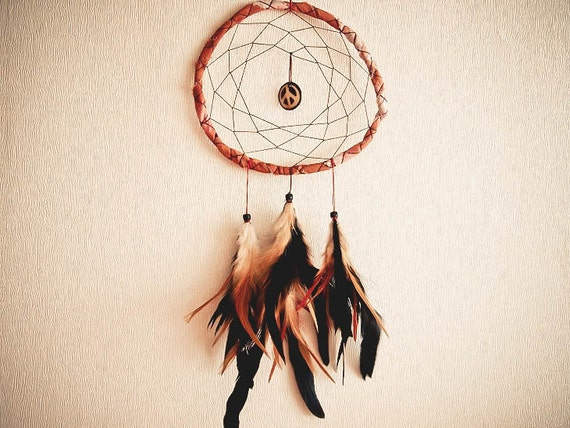 Dream Catcher - Peace with the Nature - With Wood Peace Pendant, Natural Feathers, Hand Painted Brown Frame and Nett - Home Decor, Mobile
