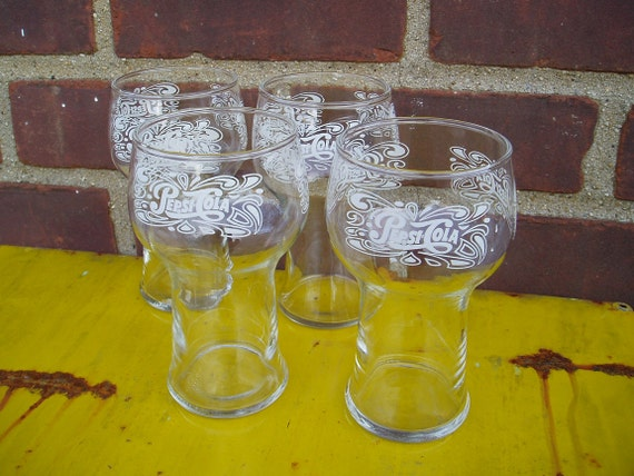 Vintage Pepsi Cola Glasses Set Of 4