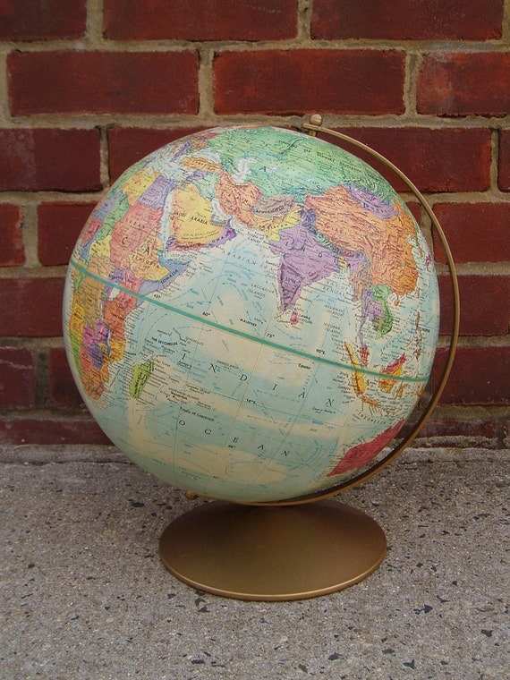 Vintage Replogle 12 Inch Globe World Nation Series With Raised Elevation Early 1980s