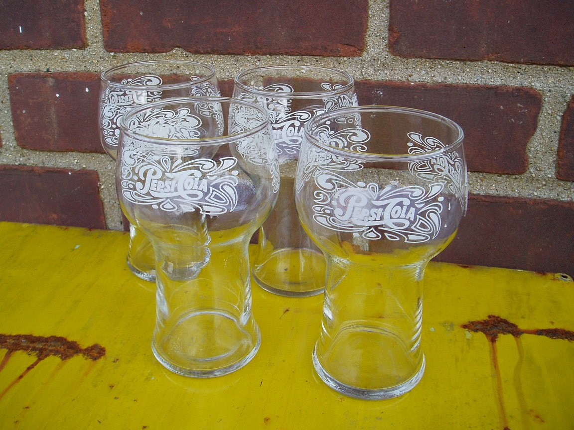 Vintage Pepsi Cola Glasses Set Of 4 By Vitaminvintagevinyl