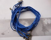 20pcs 3mm 16-18inch adjustable blue suede leather necklace cord with bronze fitting