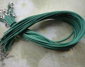 100pcs 3mm 16-18inch adjustable green suede leather necklace cord with white k lobster clasp