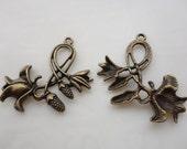20pcs Antique Bronze Vintage Style Rose Flower Charm Pendants38x25mm