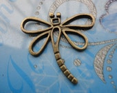 10 PCS 28x30mm Lovely Dragonfly Charm Pendant --Antique Bronze