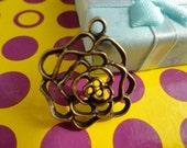 Lovely Rose Pendant-- 10pcs Antique bronze Charm Pendants 25x25mm