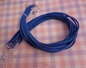 50pcs 3mm 16-18inch adjustable royal blue  suede leather necklace cord with silver fitting