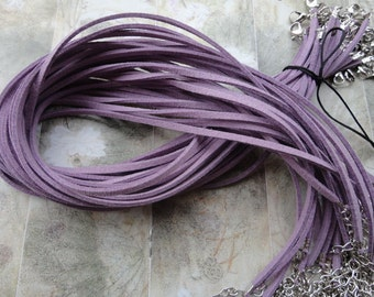 40pcs 3mm 16-18inch adjustable purple  suede leather necklace cord with white k lobster clasp