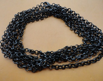 Sale 75pcs 18inch Black round shape Link chain With lobster clasp 3mmx3mm