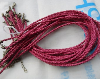 35 pcs 16-18inch 3mm rose red faux braided leather necklace cord with antique  bronze fittings