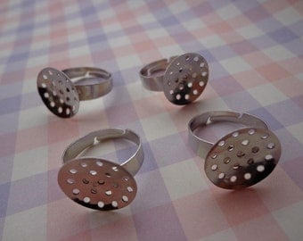 40pcs Silver Ring Base Adjustable with 16 mm Round Pad