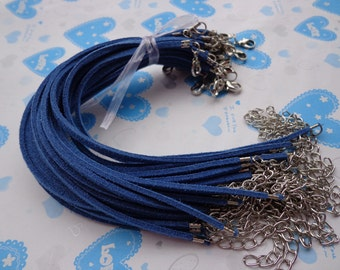 30pcs 3mm 7-9 inch adjustable royal blue  suede leather bracelet with white k  fitting