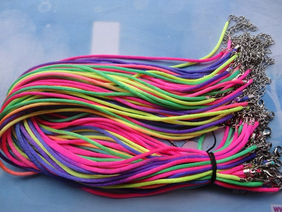 High Quality-100pcs 2mm 16-18 inch adjustable rainbow satin necklace cord
