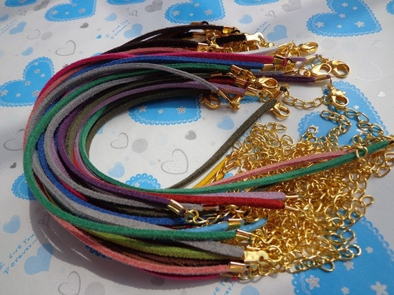 80 pcs 3mm 7-9 inch adjustable assorted colors(20 colors)suede leather bracelet with gold  fitting