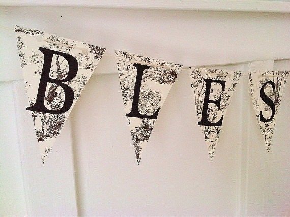 Shabby Chic Vintage Inspired Paper Bunting BLESSINGS Home Decor Photo Prop