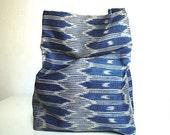 IKAT SACK - blue abaca fabric basket