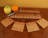 Wet Bar Set Small Maple End Grain Cutting Board/Chopping Block with 4 Hard Cherry Coasters