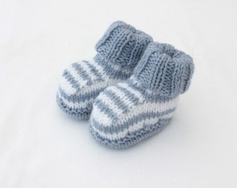 Handknit booties - baby boy booties - blue striped shoes
