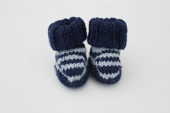 Knitted Booties, Baby Boy, Blue stripes