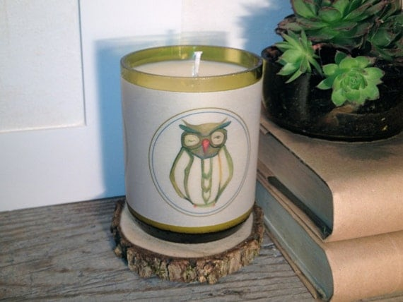 Recycled Wine Bottle Soy Candle With Vellum Owl Print and Gift Box.