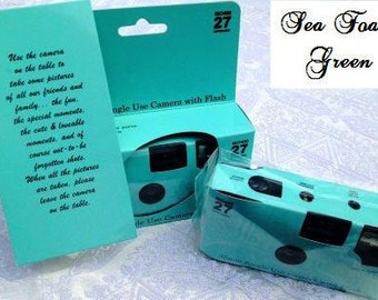 disposable camera etsy Boots Wedding Disposable Cameras 10 plain seafoam green disposable cameras for wedding or party, 35mm color film, 27exp boots wedding disposable cameras