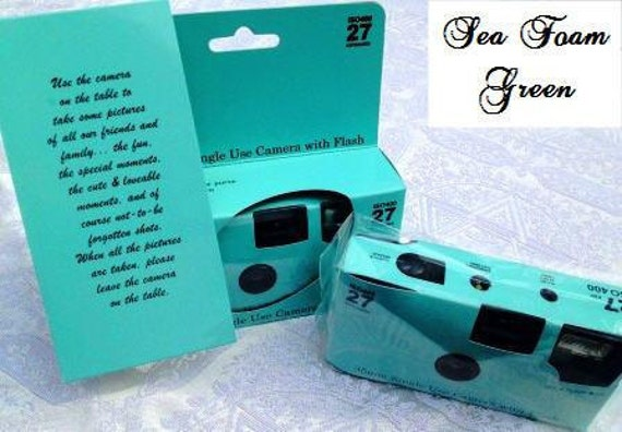 10 Plain Seafoam Green disposable cameras for wedding or party, 35mm color film, 27exp 400 speed,  Favors for Candid Photos