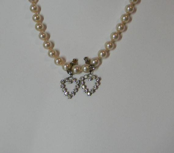 Heart  Rhinestone Drop Earrings Vintage Pierced