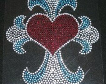 Cross with Heart Iron On Rhinestone Transfer